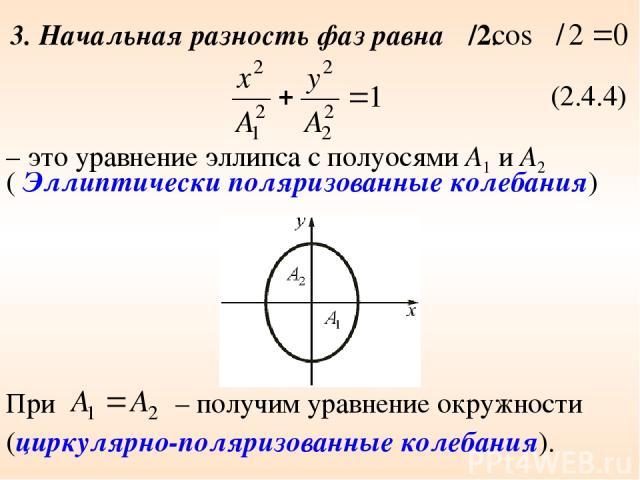 3. Начальная разность фаз равна π/2. (2.4.4) ( Эллиптически поляризованные колебания) При (циркулярно-поляризованные колебания). – получим уравнение окружности – это уравнение эллипса с полуосями А1 и А2