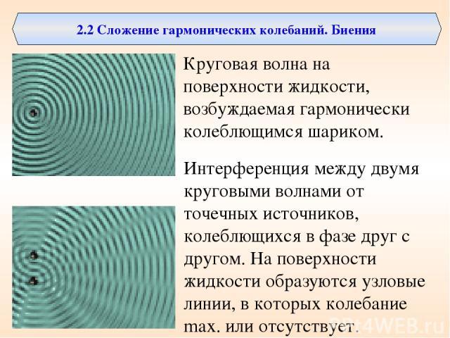 2.2 Сложение гармонических колебаний. Биения Круговая волна на поверхности жидкости, возбуждаемая гармонически колеблющимся шариком. Интерференция между двумя круговыми волнами от точечных источников, колеблющихся в фазе друг с другом. На поверхност…