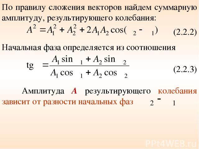 По правилу сложения векторов найдем суммарную амплитуду, результирующего колебания: (2.2.2) Начальная фаза определяется из соотношения (2.2.3) Амплитуда А результирующего колебания зависит от разности начальных фаз