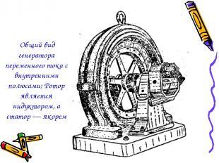 Общий вид генератора переменного тока с внутренними полюсами; Ротор является инд