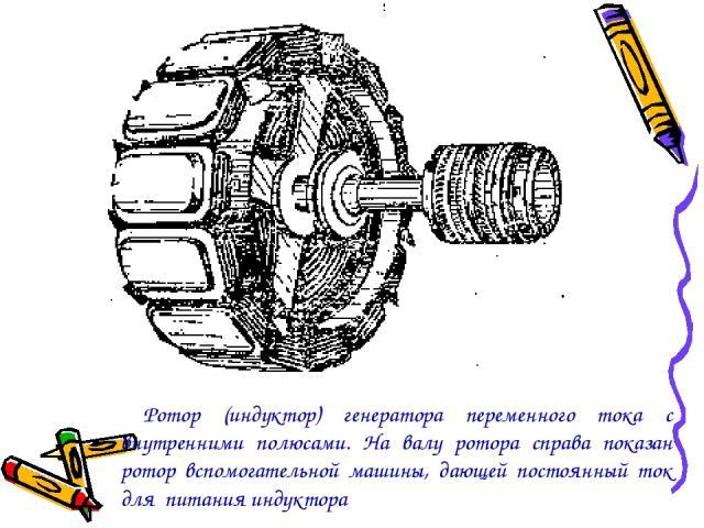 Ротор (индуктор) генератора переменного тока с внутренними полюсами. На валу ротора справа показан ротор вспомогательной машины, дающей постоянный ток для питания индуктора