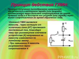 Принцип действия ГЛИН: Принцип получения пилообразного напряжения заключается в