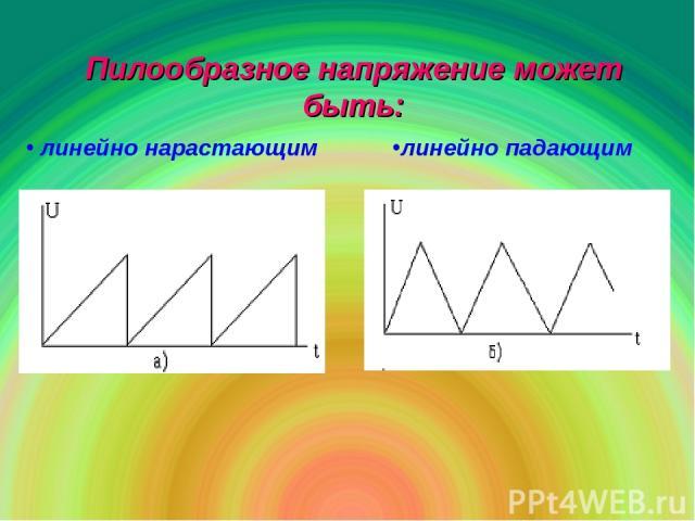 Пилообразное напряжение может быть: линейно нарастающим линейно падающим