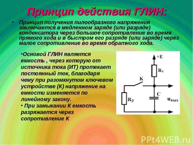Принцип действия ГЛИН: Принцип получения пилообразного напряжения заключается в медленном заряде (или разряде) конденсатора через большое сопротивление во время прямого хода и в быстром его разряде (или заряде) через малое сопротивление во время обр…