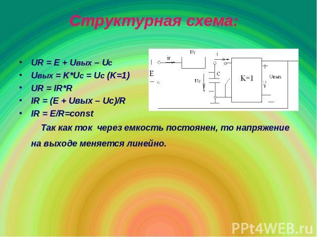 Структурная схема: UR = E + Uвых – Uc Uвых = K*Uc = Uc (K=1) UR = IR*R IR = (E + Uвых – Uc)/R IR = E/R=const Так как ток через емкость постоянен, то напряжение на выходе меняется линейно.