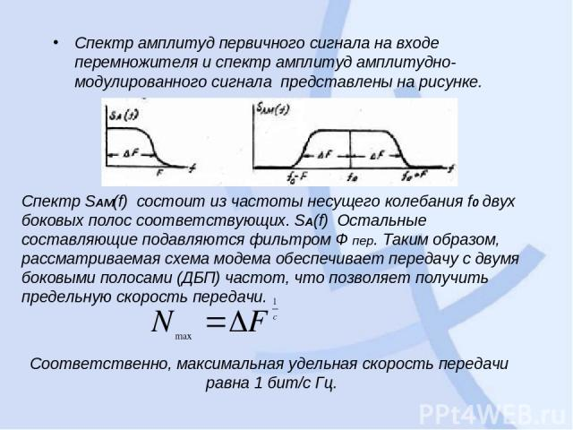 Спектр амплитуд первичного сигнала на входе перемножителя и спектр амплитуд амплитудно-модулированного сигнала представлены на рисунке. Спектр SAM(f) состоит из частоты несущего колебания f0 двух боковых полос соответствующих. SA(f) Остальные сост…