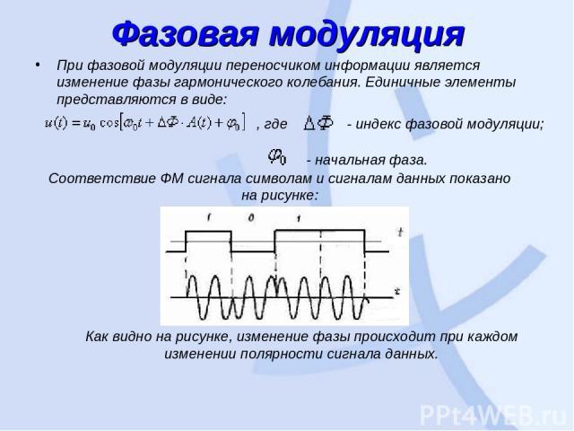 Фазовая модуляция При фазовой модуляции переносчиком информации является изменение фазы гармонического колебания. Единичные элементы представляются в виде: , где  - индекс фазовой модуляции; - начальная фаза. Соответствие ФМ сигнала символам и сигн…
