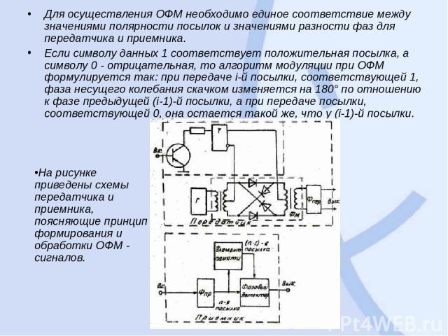Для осуществления ОФМ необходимо единое соответствие между значениями полярности посылок и значениями разности фаз для передатчика и приемника. Если символу данных 1 соответствует положительная посылка, а символу 0 - отрицательная, то алгоритм модул…