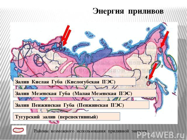 Энергия приливов Залив Кислая Губа (Кислогубская ПЭС) Залив Мезенская Губа (Малая Мезенская ПЭС) Залив Пенжинская Губа (Пенжинская ПЭС) Тугурский залив (перспективный) Районы возможного использования приливной энергии