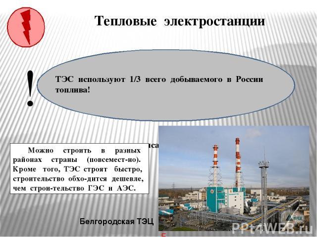 Тепловые электростанции Белгородская ТЭЦ Какие преимущества при строительстве имеют ТЭС? Можно строить в разных районах страны (повсемест-но). Кроме того, ТЭС строят быстро, строительство обхо-дится дешевле, чем строи-тельство ГЭС и АЭС. ! ТЭС испол…