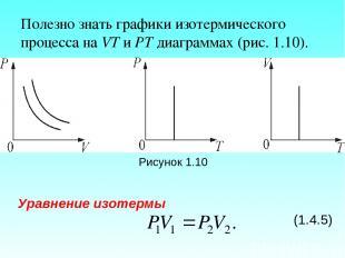 Полезно знать графики изотермического процесса на VT и РT диаграммах (рис. 1.10)