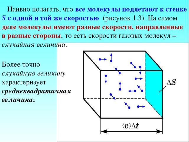 Наивно полагать, что все молекулы подлетают к стенке S с одной и той же скоростью (рисунок 1.3). На самом деле молекулы имеют разные скорости, направленные в разные стороны, то есть скорости газовых молекул – случайная величина. Более точно случайну…
