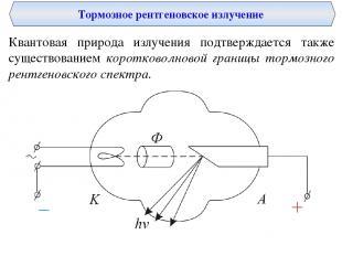 Тормозное рентгеновское излучение Квантовая природа излучения подтверждается так