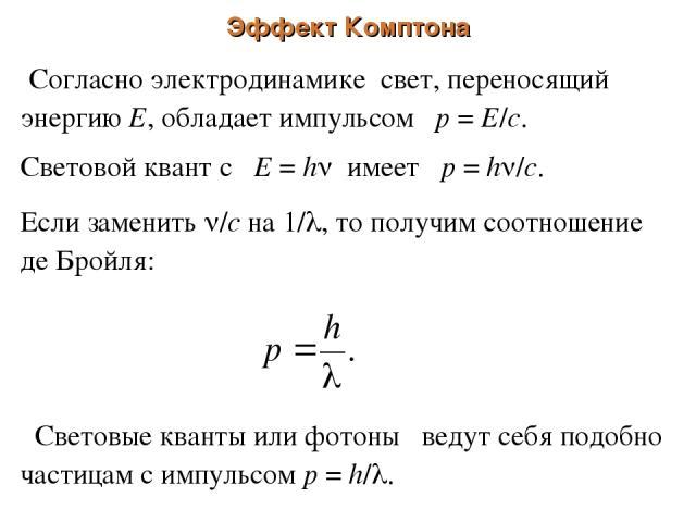 Эффект Комптона Согласно электродинамике свет, переносящий энергию Е, обладает импульсом р = Е/с. Световой квант с Е = h имеет р = h /c. Если заменить /с на 1/ , то получим соотношение де Бройля: Световые кванты или фотоны ведут себя подобно частица…