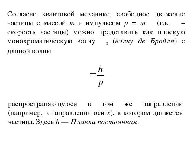 Согласно квантовой механике, свободное движение частицы с массой m и импульсом p = mυ (где υ – скорость частицы) можно представить как плоскую монохроматическую волну Ψ0 (волну де Бройля) с длиной волны распространяющуюся в том же направлении (напри…