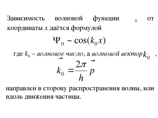 Зависимость волновой функции Ψ0 от координаты х даётся формулой где k0 – волновое число, а волновой вектор , направлен в сторону распространения волны, или вдоль движения частицы.