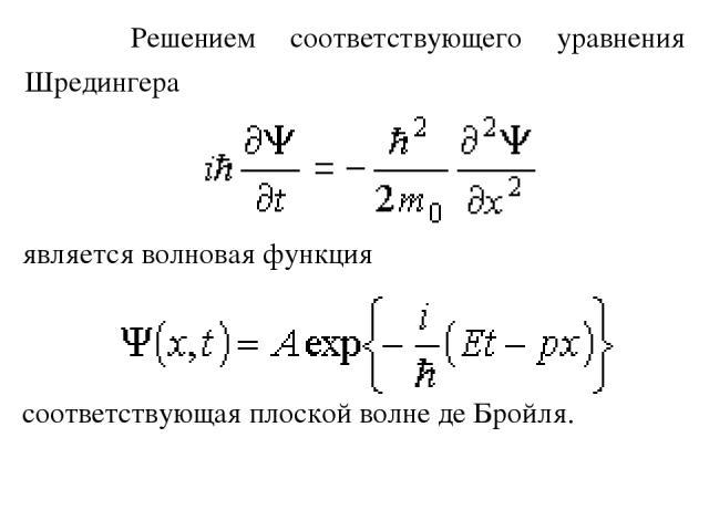 Решением соответствующего уравнения Шредингера является волновая функция соответствующая плоской волне де Бройля.