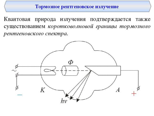 Тормозное рентгеновское излучение Квантовая природа излучения подтверждается также существованием коротковолновой границы тормозного рентгеновского спектра.