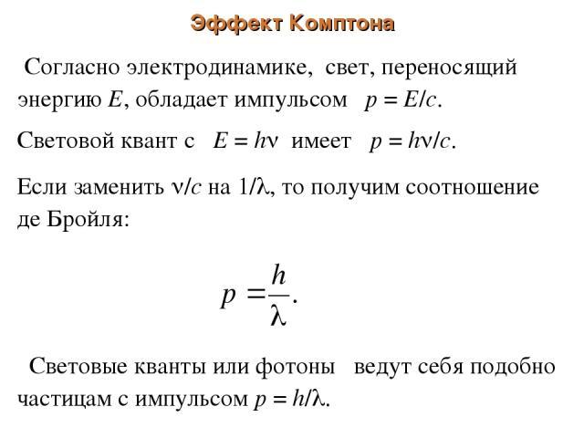 Эффект Комптона Согласно электродинамике, свет, переносящий энергию Е, обладает импульсом р = Е/с. Световой квант с Е = h имеет р = h /c. Если заменить /с на 1/ , то получим соотношение де Бройля: Световые кванты или фотоны ведут себя подобно частиц…