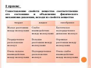 2 прием: Сопоставление свойств вещества соответственно его состоянию и объяснени