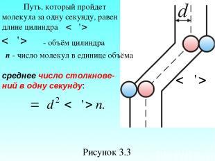 Рисунок 3.3 Путь, который пройдет молекула за одну секунду, равен длине цилиндра