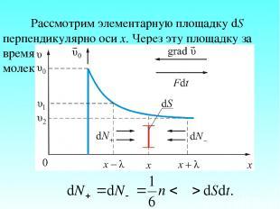Рассмотрим элементарную площадку dS перпендикулярно оси х. Через эту площадку за