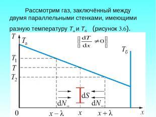Рассмотрим газ, заключённый между двумя параллельными стенками, имеющими разную