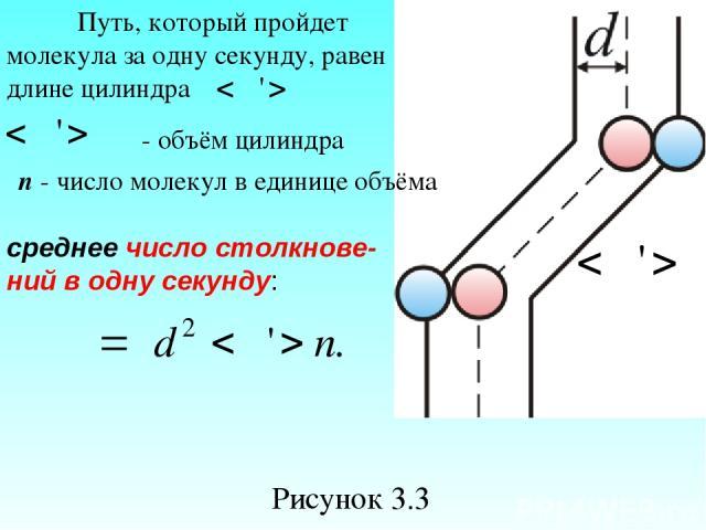 Рисунок 3.3 Путь, который пройдет молекула за одну секунду, равен длине цилиндра - объём цилиндра n - число молекул в единице объёма среднее число столкнове- ний в одну секунду:
