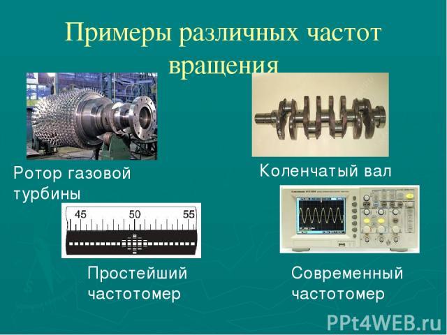 Примеры различных частот вращения Простейший частотомер Современный частотомер Коленчатый вал Ротор газовой турбины