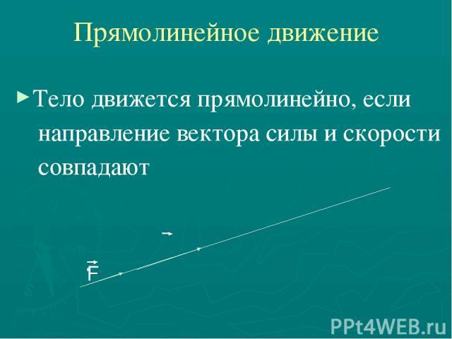 Прямолинейное движение Тело движется прямолинейно, если направление вектора силы и скорости совпадают F υ