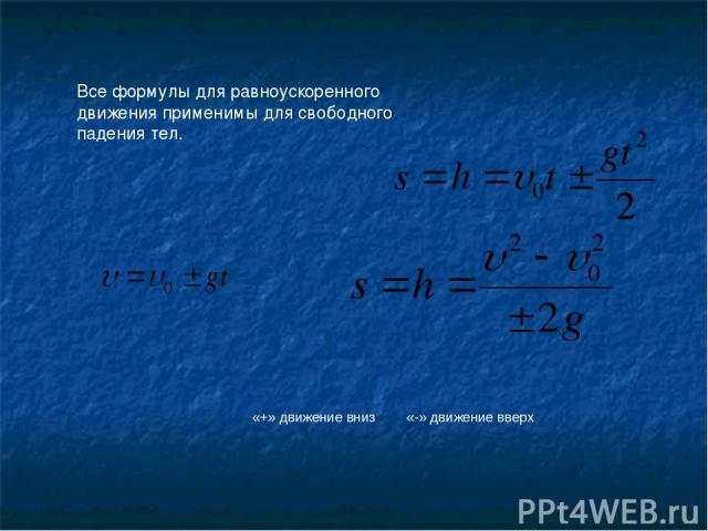 Все формулы для равноускоренного движения применимы для свободного падения тел. «+» движение вниз «-» движение вверх