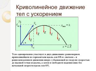 Криволинейное движение тел с ускорением свободного падения. Тело одновременно уч