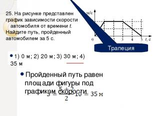 1) 0 м; 2) 20 м; 3) 30 м; 4) 35 м Пройденный путь равен площади фигуры под графи