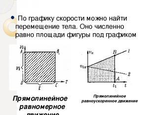 По графику скорости можно найти перемещение тела. Оно численно равно площади фиг