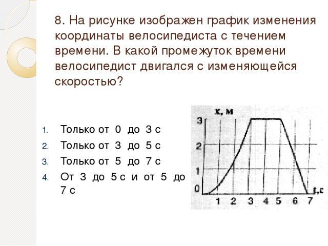 8. На рисунке изображен график изменения координаты велосипедиста с течением времени. В какой промежуток времени велосипедист двигался с изменяющейся скоростью? Только от 0 до 3 с Только от 3 до 5 с Только от 5 до 7 с От 3 до 5 с и от 5 до 7 с