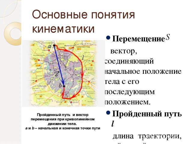 Основные понятия кинематики Перемещение вектор, соединяющий начальное положение тела с его последующим положением. Пройденный путь l длина траектории, пройденной телом за некоторое время t. Пройденный путь и вектор перемещения при криволинейном движ…
