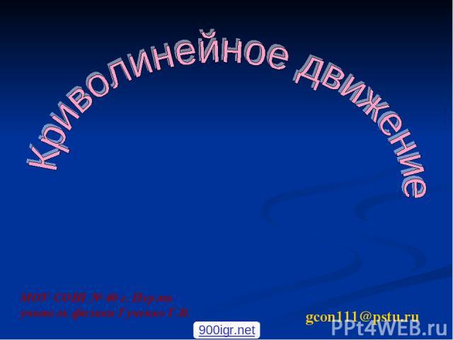 МОУ СОШ № 40 г. Перми учитель физики Гученко Г.В. gcon111@pstu.ru 900igr.net