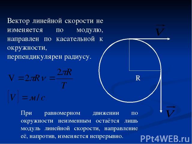 R Вектор линейной скорости не изменяется по модулю, направлен по касательной к окружности, перпендикулярен радиусу. При равномерном движении по окружности неизменным остаётся лишь модуль линейной скорости, направление её, напротив, изменяется непрерывно.