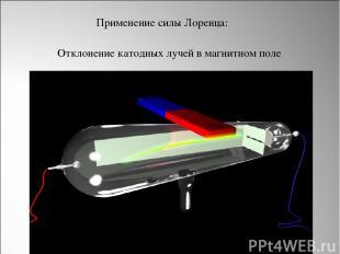 Отклонение катодных лучей в магнитном поле Применение силы Лоренца: