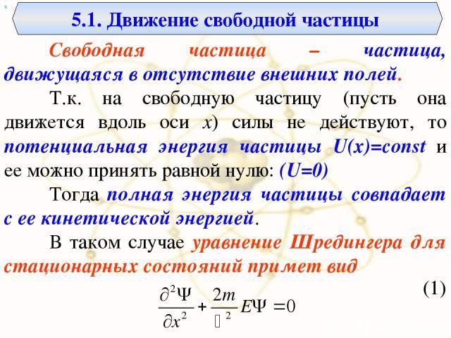 5.1. Движение свободной частицы х Свободная частица – частица, движущаяся в отсутствие внешних полей. Т.к. на свободную частицу (пусть она движется вдоль оси x) силы не действуют, то потенциальная энергия частицы U(x)=const и ее можно принять равной…