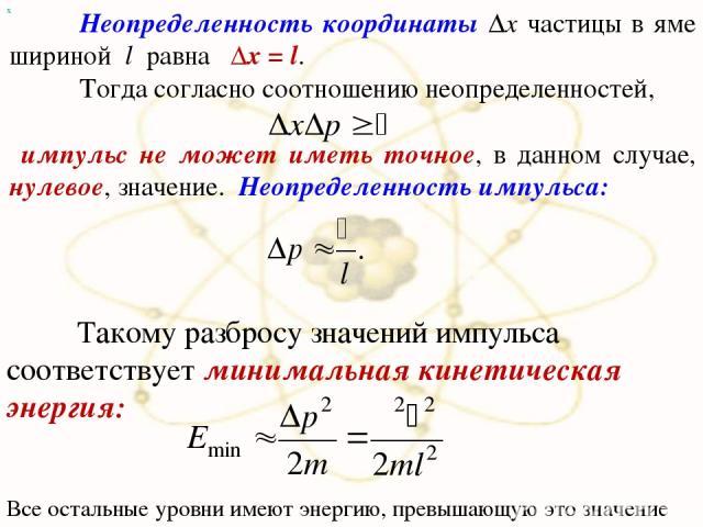 х Неопределенность координаты Δx частицы в яме шириной l равна Δx = l. Тогда согласно соотношению неопределенностей, импульс не может иметь точное, в данном случае, нулевое, значение. Неопределенность импульса: Такому разбросу значений импульса соот…