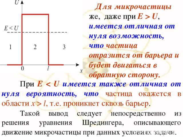 х При E < U имеется также отличная от нуля вероятность, что частица окажется в области x > l, т.е. проникнет сквозь барьер. Такой вывод следует непосредственно из решения уравнения Шредингера, описывающего движение микрочастицы при данных условиях з…