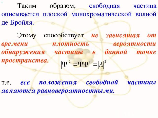 х т.е. все положения свободной частицы являются равновероятностными. Таким образом, свободная частица описывается плоской монохроматической волной де Бройля. Этому способствует не зависящая от времени плотность вероятности обнаружения частицы в данн…