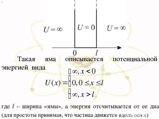 х Такая яма описывается потенциальной энергией вида где l – ширина «ямы», а энергия отсчитывается от ее дна. (для простоты принимая, что частица движется вдоль оси x)