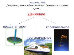 Движение Гипотеза №2 Допустим, все предметы могут двигаться только прямо. вращат