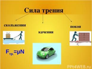 Сила трения скольжения качения покоя Fтр.=µN