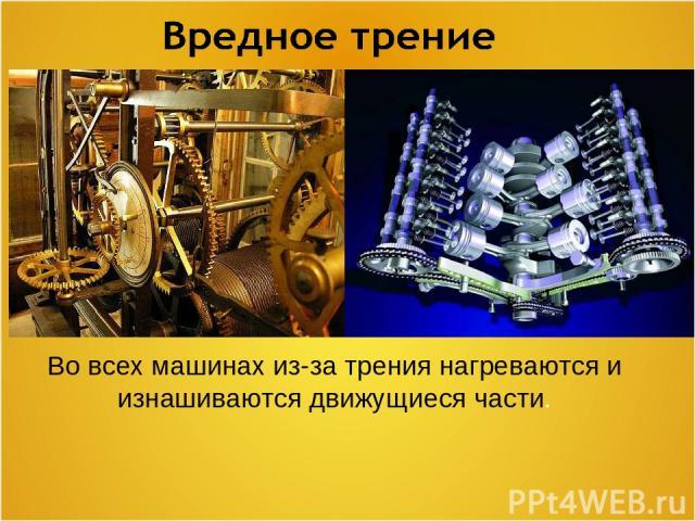 Во всех машинах из-за трения нагреваются и изнашиваются движущиеся части.
