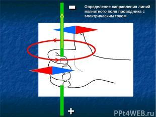 + - Определение направления линий магнитного поля проводника с электрическим ток
