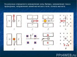 На рисунках определите направление силы Ампера, направления тока в проводнике, н