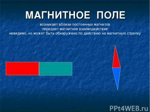 МАГНИТНОЕ ПОЛЕ возникает вблизи постоянных магнитов передает магнитное взаимодей